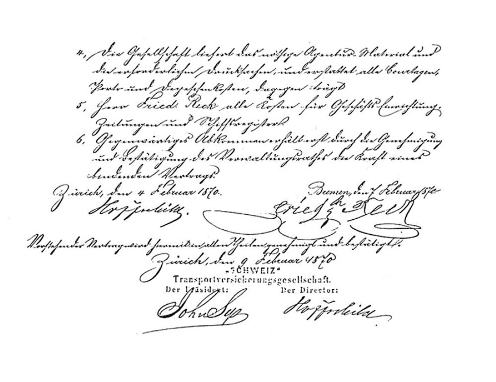 Der erste Agenturvertrag von Reck Und Co. mit einem Versicherungsunternehmen