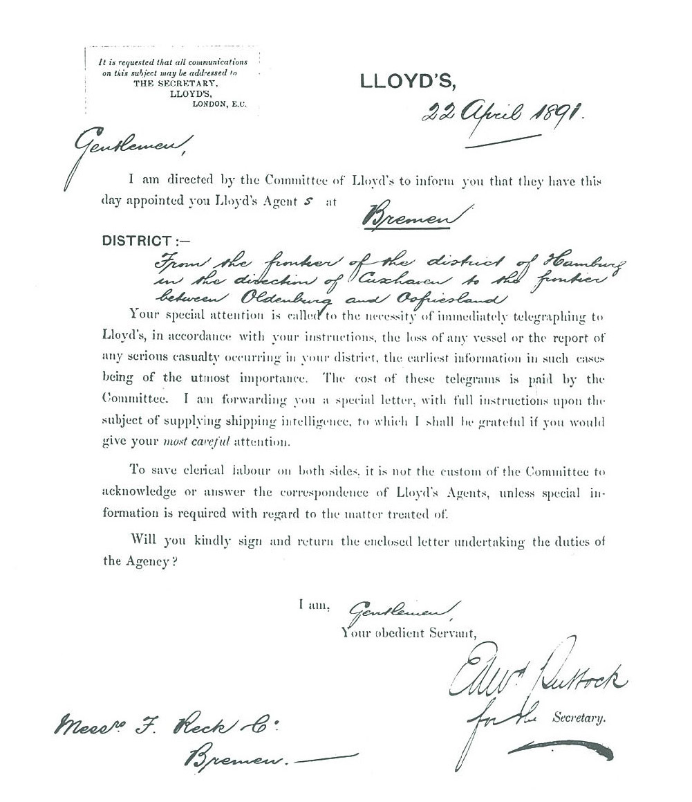 Lloyds-Brief von 1891